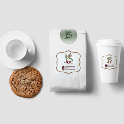 Bag & paper cup design for Jolly's Sweet. Home business bakery – khobar