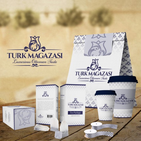 Successfully designed bag, cups, tea packages & ribbons for Turk Magazasi