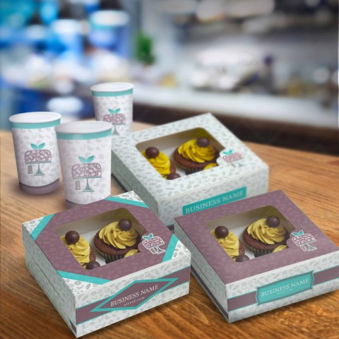 Cake box & paper mug design as part of Corporate identity for Al Reef for Sweet