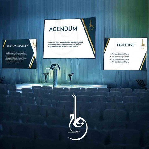 PowerPoint design as part of Corporate identity for Al Maha for training & Consulting.